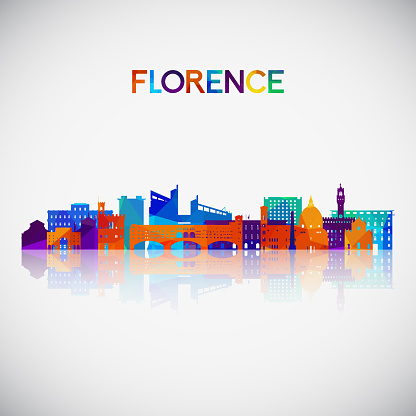 Florence skyline silhouette in colorful geometric style. Symbol for your design. Vector illustration.