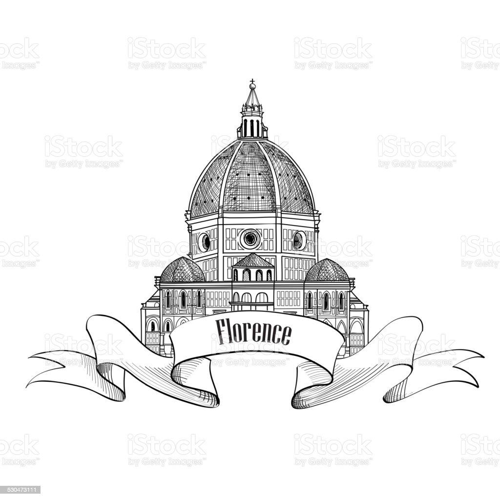 Florence symbol. Travel Italy icon. Cathedral Santa Maria del Fiore vector art illustration