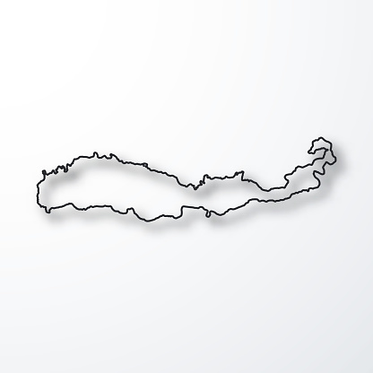 Flores map - Black outline with shadow on white background