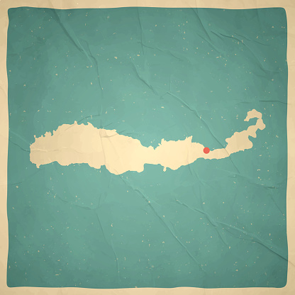 Flores map in retro vintage style - Old textured paper