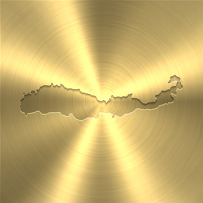 Flores map on gold background - Circular brushed metal texture