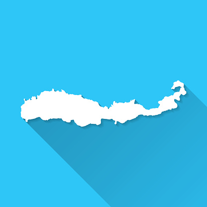 Flores map with long shadow on blue background - Flat Design