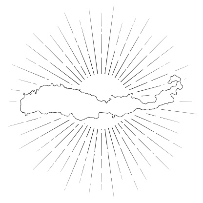 Flores map with sunbeams on white background