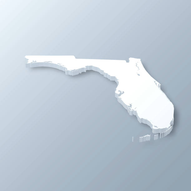 Florida 3D Map on gray background 3D map of Florida isolated on a blank and gray background, with a dropshadow. Vector Illustration (EPS10, well layered and grouped). Easy to edit, manipulate, resize or colorize. florida us state stock illustrations