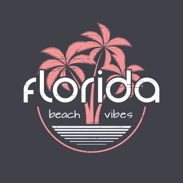 Florida beach vibes t-shirt and apparel vector design, print, typography, poster, emblem with palm trees. vector art illustration