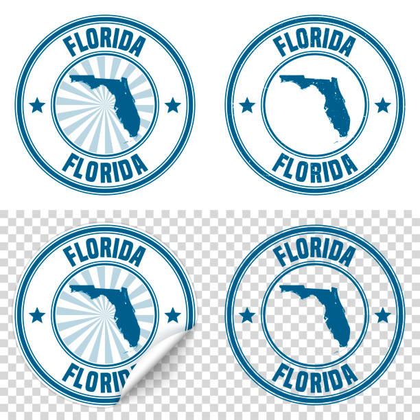 Florida - Blue sticker and stamp with name and map Map of Florida on a blue sticker and a blue rubber stamp. They are composed of the map in the middle with the names around, separated by stars. The stamp at the top right is created in a vintage style, a grunge texture is added to create a vintage and realistic effect. Vector Illustration (EPS10, well layered and grouped). Easy to edit, manipulate, resize or colorize. Please do not hesitate to contact me if you have any questions, or need to customise the illustration. http://www.istockphoto.com/portfolio/bgblue florida us state stock illustrations