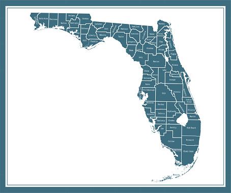 Florida counties map printable