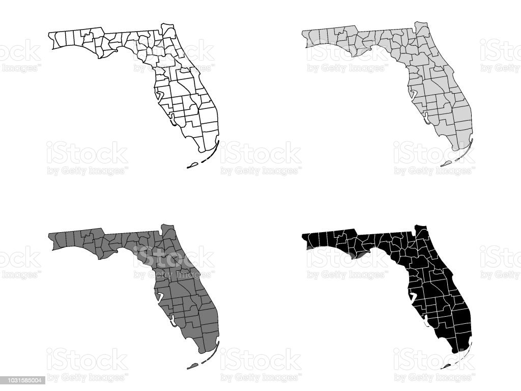 County Maps Of Florida.Florida County Map Stock Vector Art More Images Of Clip Art
