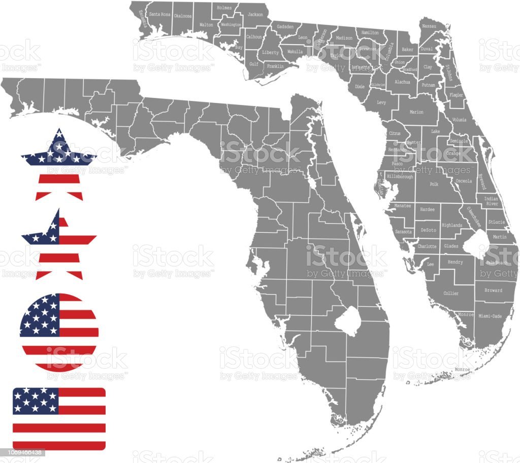 Florida County Map Vector Outline In Gray Background Florida State