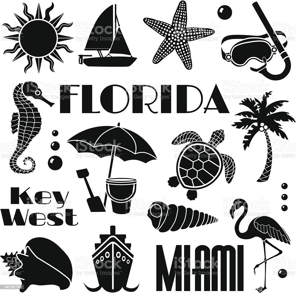 Florida design elements vector art illustration