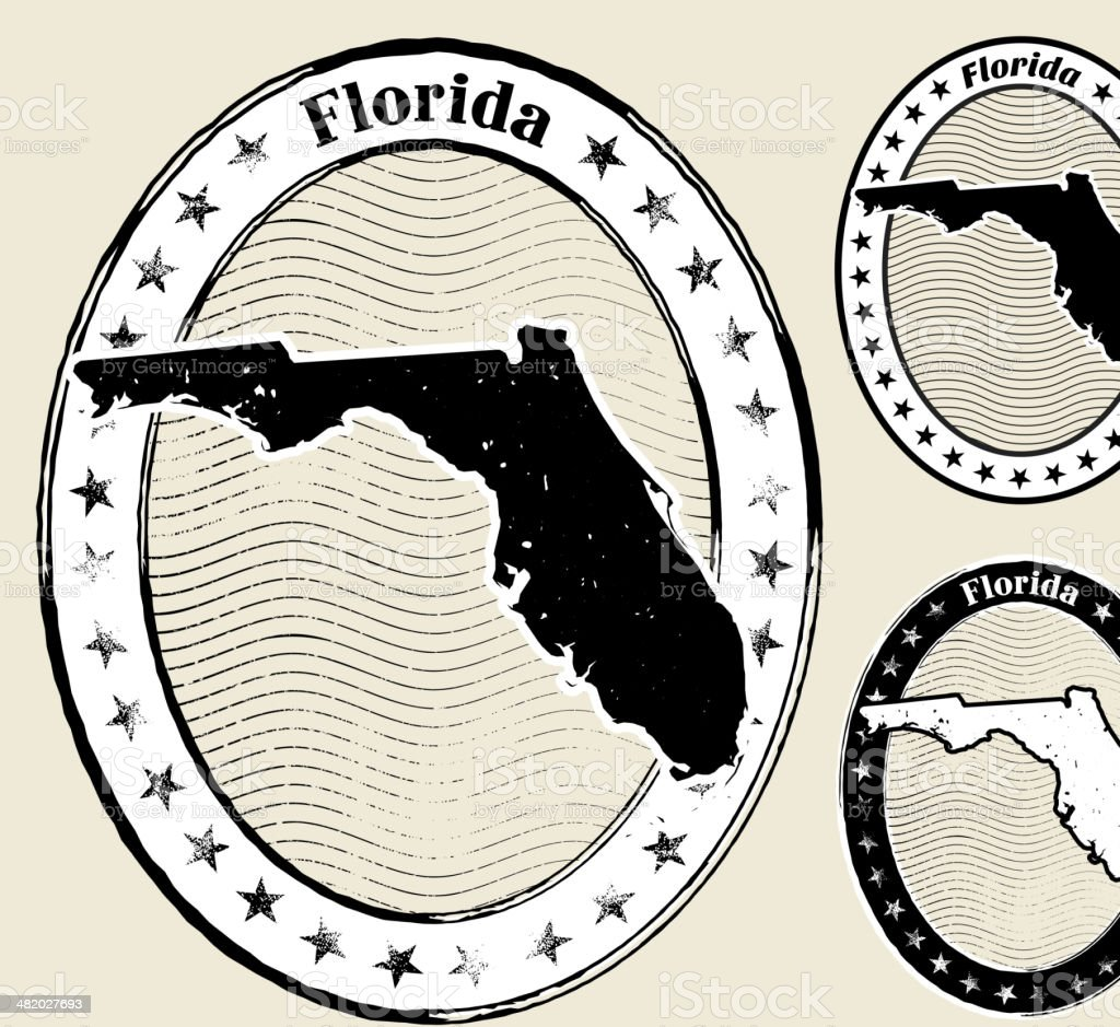 Florida Grunge Map Black & White Stamp Collection royalty-free florida grunge map black white stamp collection stock vector art & more images of american culture