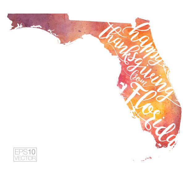 Florida Happy Thanksgiving Fall-Colored Vector Map Illustration Florida Happy Thanksgiving Fall-Colored Vector Map Illustration florida us state stock illustrations