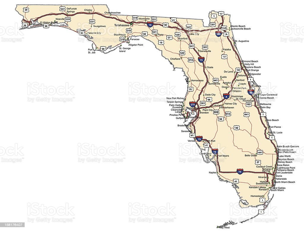Florida Highway Map Stock Vector Art More Images of Bay of Water