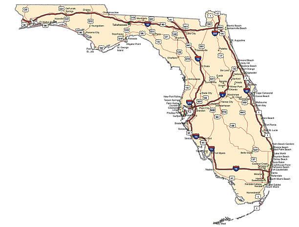 Florida Highway map vector art illustration