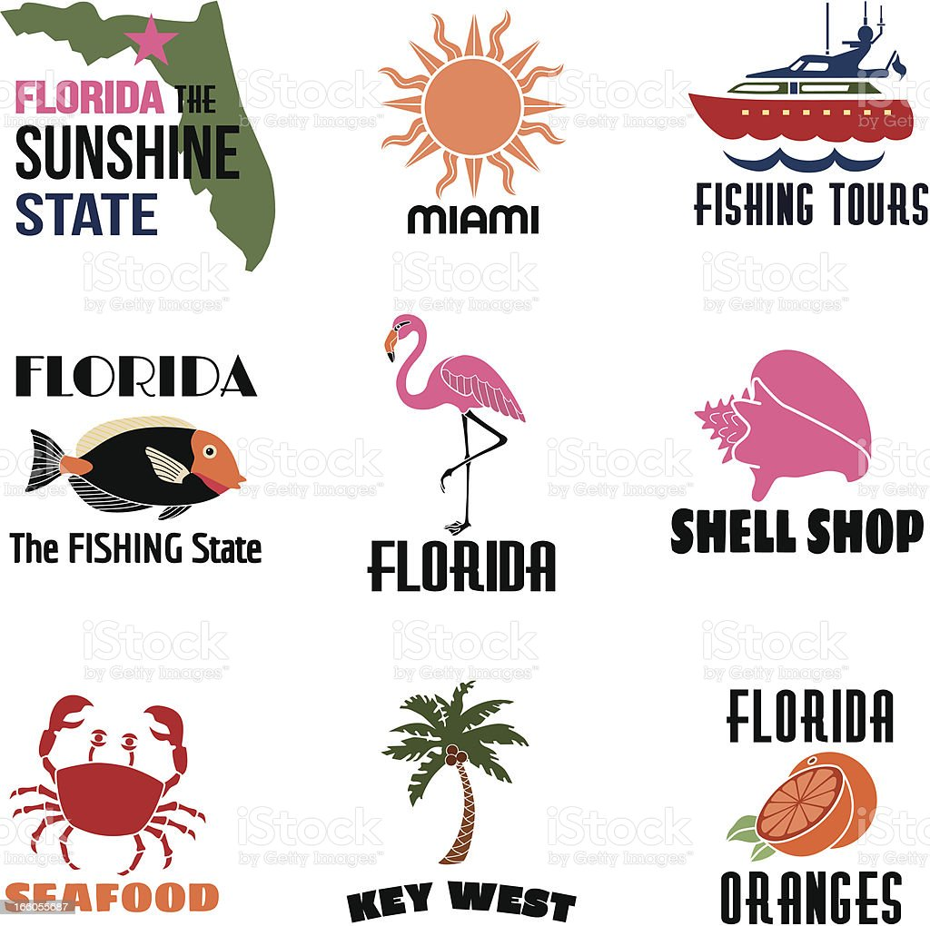 Florida icons with text royalty-free stock vector art