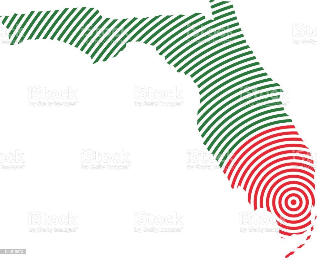 Florida Map Concept of Hurricane Wind Bands. Vector Illustration vector art illustration