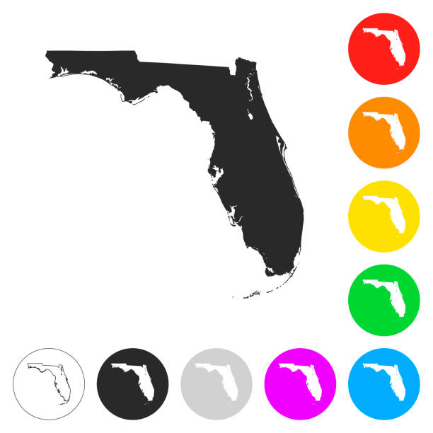 Florida map - Flat icons on different color buttons Map of Florida isolated on white background. Includes 9 buttons with a flat design style for your design, in different colors (red, orange, yellow, green, blue, purple, gray, black, white, line art), each icon is separated on its own layer. Vector Illustration (EPS10, well layered and grouped). Easy to edit, manipulate, resize or colorize. Please do not hesitate to contact me if you have any questions, or need to customise the illustration. http://www.istockphoto.com/portfolio/bgblue florida us state stock illustrations