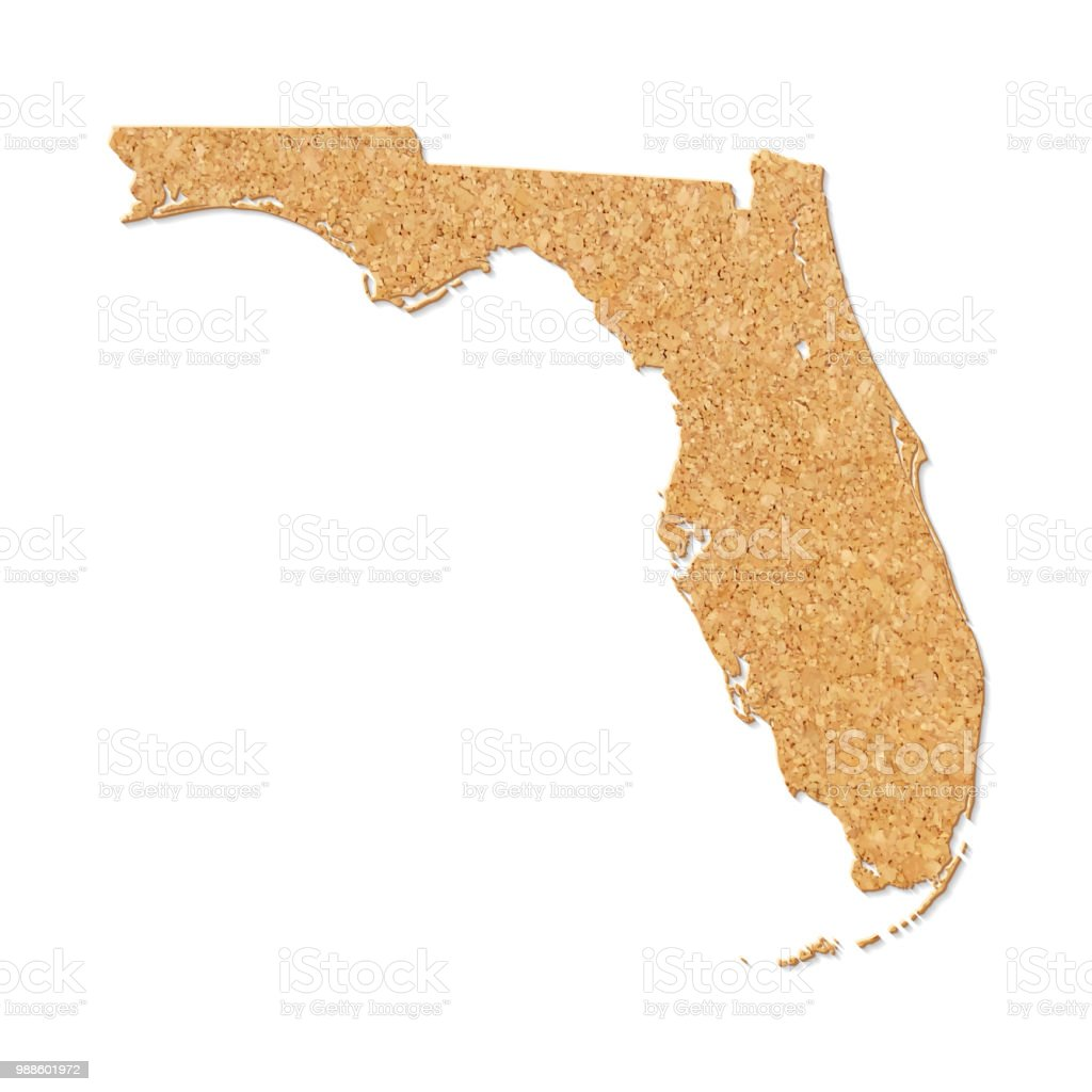 Florida On Us Map.Florida Map In Cork Board Texture On White Background Stock