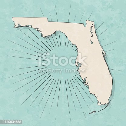 Map of Florida in a trendy vintage style. Beautiful retro illustration with old textured paper and light rays in the background (colors used: blue, green, beige and black for the outline). Vector Illustration (EPS10, well layered and grouped). Easy to edit, manipulate, resize or colorize.
