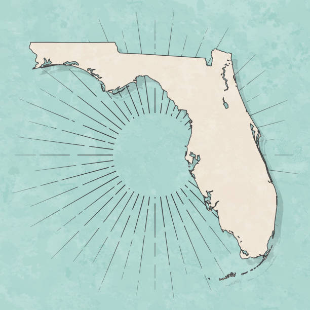 Florida map in retro vintage style - Old textured paper Map of Florida in a trendy vintage style. Beautiful retro illustration with old textured paper and light rays in the background (colors used: blue, green, beige and black for the outline). Vector Illustration (EPS10, well layered and grouped). Easy to edit, manipulate, resize or colorize. florida us state stock illustrations
