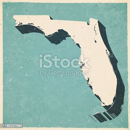 Map of Florida in a trendy vintage style. Beautiful retro illustration with old textured paper and a black long shadow (colors used: blue, green, beige and black). Vector Illustration (EPS10, well layered and grouped). Easy to edit, manipulate, resize or colorize.