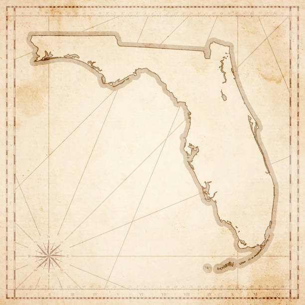 Florida map in retro vintage style - old textured paper Map of Florida in vintage style. Beautiful illustration of antique map on an old textured paper of sepia color. Old realistic parchment with a compass rose, lines indicating the different directions (North, South, East, West) and a frame used as scale of measurement. Vector Illustration (EPS10, well layered and grouped). Easy to edit, manipulate, resize or colorize. Please do not hesitate to contact me if you have any questions, or need to customise the illustration. http://www.istockphoto.com/portfolio/bgblue florida us state stock illustrations
