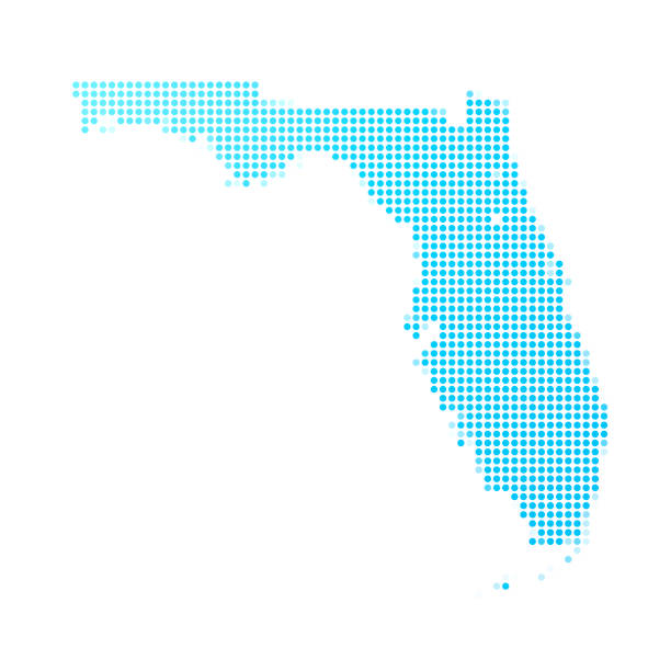 Florida map of blue dots on white background Map of Florida made with round blue dots on a blank background. Original mosaic illustration. Vector Illustration (EPS10, well layered and grouped). Easy to edit, manipulate, resize or colorize. Please do not hesitate to contact me if you have any questions, or need to customise the illustration. http://www.istockphoto.com/portfolio/bgblue florida us state stock illustrations