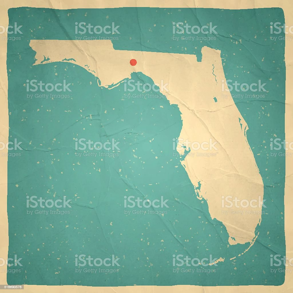 Florida Map On Old Paper Vintage Texture Stock Vector Art - Map of gulf coast florida