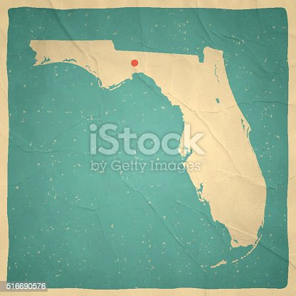 Map of Florida with a retro style, a vintage effect on an old textured paper.