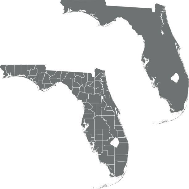 Florida map – artystyczna grafika wektorowa