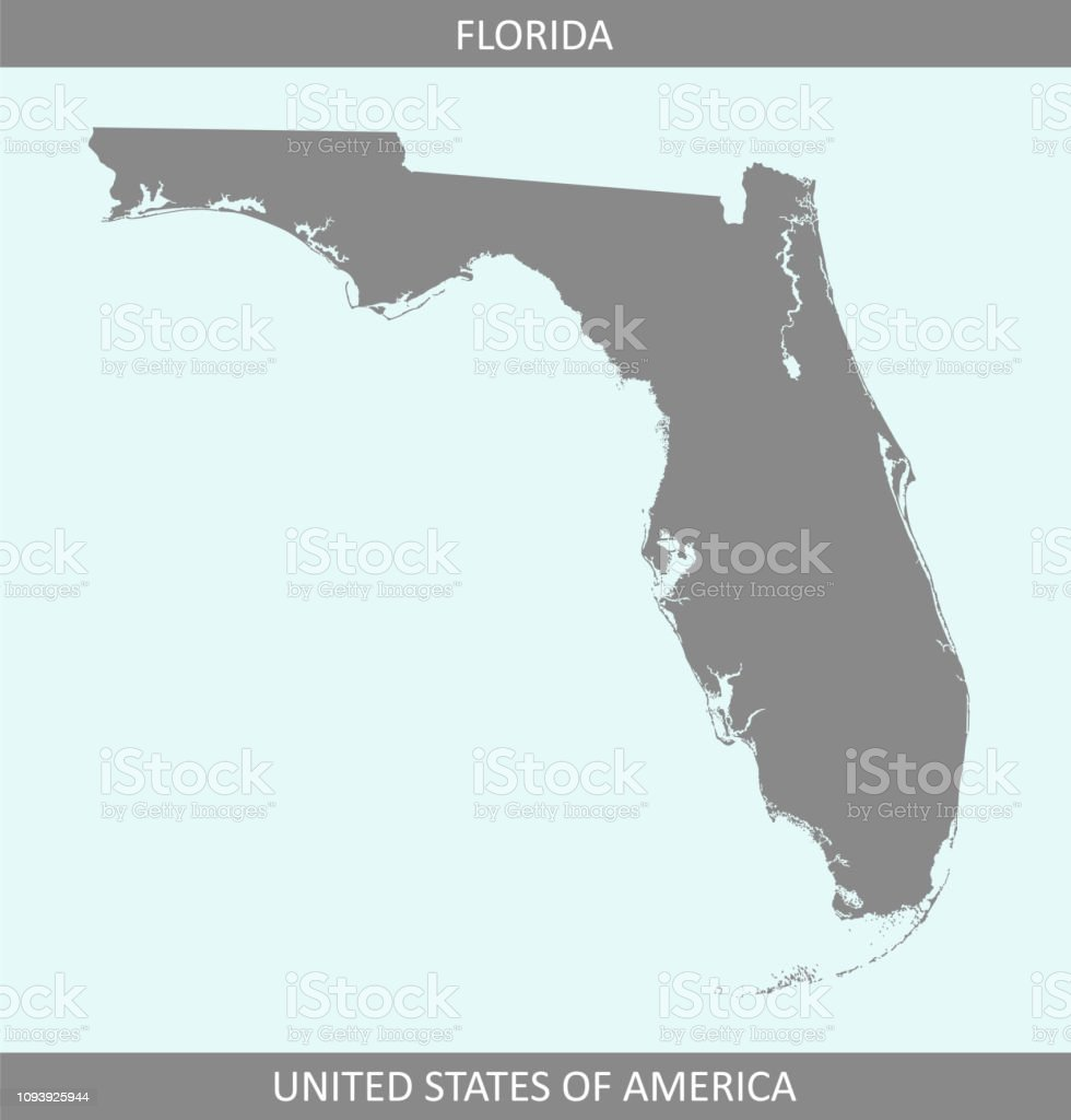 Florida Map State.Florida Map Vector Outline Gray Background A State Of United States Of America Stock Illustration Download Image Now