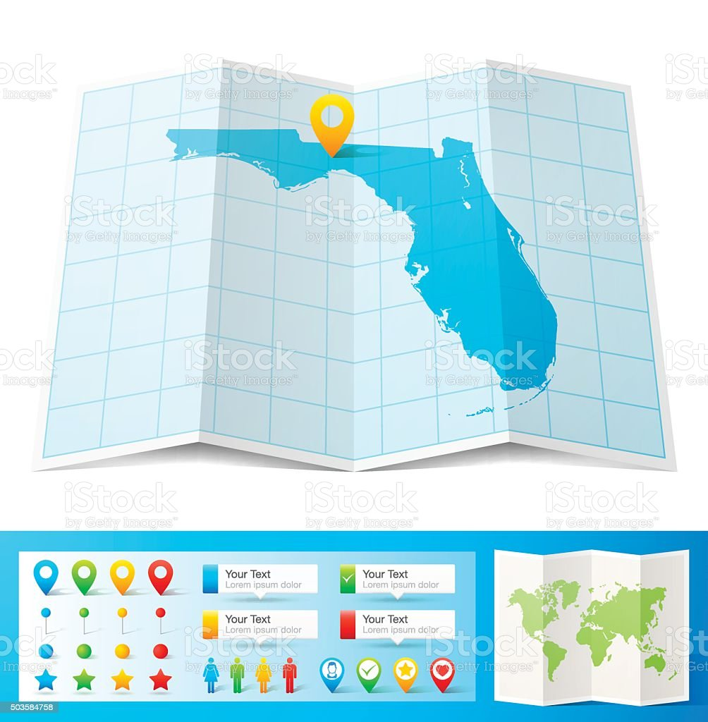 Florida Map With Location Pins Isolated On White Background Stock