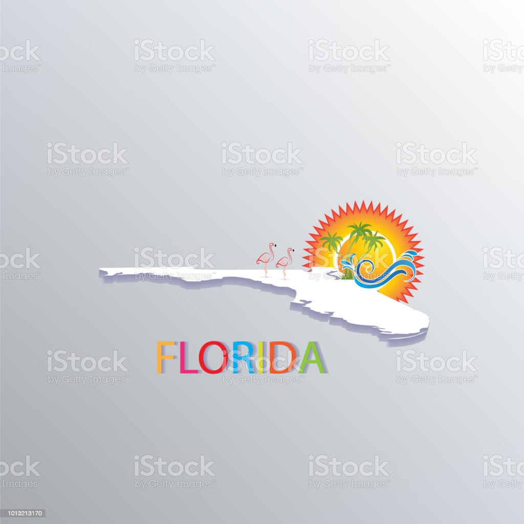 Florida Map With Beaches.Florida Map With Sun Trees And Waves Tropical Beaches Icon Logo