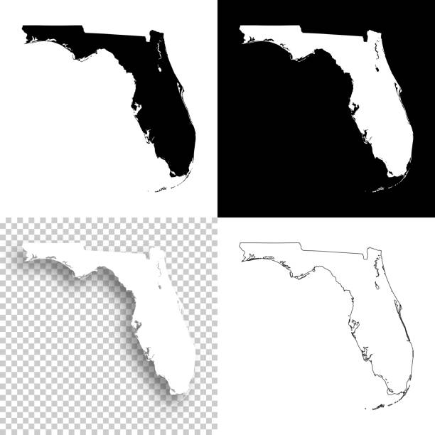 Florida maps for design - Blank, white and black backgrounds Map of Florida for your own design. With space for your text and your background. Four maps included in the bundle: - One black map on a white background. - One blank map on a black background. - One white map with shadow on a blank background (for easy change background or texture). - One blank map with only a thin black outline (in a line art style). The layers are named to facilitate your customization. Vector Illustration (EPS10, well layered and grouped). Easy to edit, manipulate, resize or colorize. Please do not hesitate to contact me if you have any questions, or need to customise the illustration. http://www.istockphoto.com/portfolio/bgblue florida us state stock illustrations