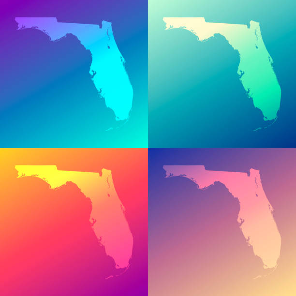Florida maps with colorful gradients - Trendy background Map of Florida in a colorful, modern and trendy design. Four maps with beautiful color gradients (purple, cyan, blue, green, yellow, orange, red, pink, beige). Vector Illustration (EPS10, well layered and grouped). Easy to edit, manipulate, resize or colorize. Please do not hesitate to contact me if you have any questions, or need to customise the illustration. http://www.istockphoto.com/portfolio/bgblue florida us state stock illustrations