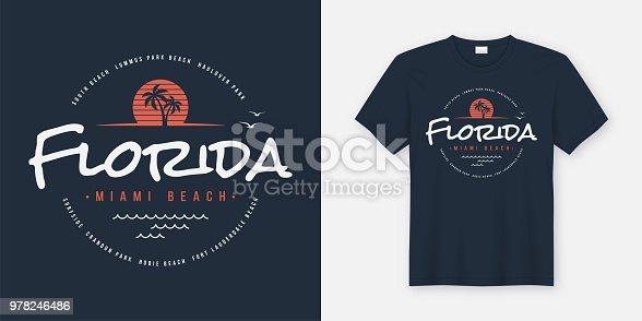 Florida Miami beach t-shirt and apparel design, typography, print, vector illustration.