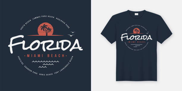 Florida Miami beach t-shirt and apparel design, typography, print, vector illustration. vector art illustration