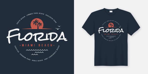Floride Miami plage design t-shirt et vêtements, typographie, impression, illustration vectorielle. - Illustration vectorielle