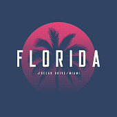 Florida Miami Ocean Drive t-shirt and apparel design with palm tree and halftoned sun, vector illustration, typography, print, symbol, poster.