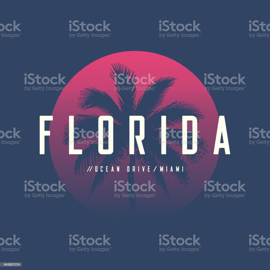 Florida Miami Ocean Drive t-shirt and apparel design with palm tree and halftoned sun, vector illustration, typography, print, symbol, poster. vector art illustration