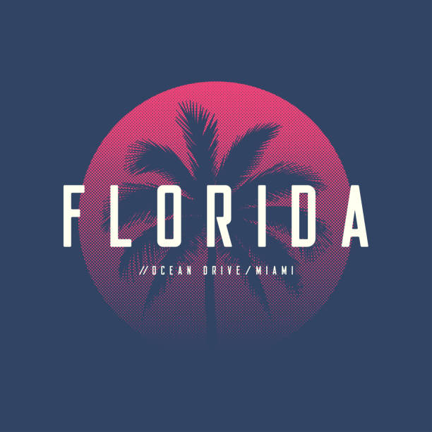 florida miami ocean drive t-shirt and apparel design with palm tree and halftoned sun, vector illustration, typography, print, symbol, poster. - zachód słońca stock illustrations