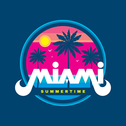 Florida Miami summertime - vector illustration concept in retro vintage graphic style for t-shirt, print, poster, brochure. Palms, sun, coast, beach. Badge design. Summer travel vacation.
