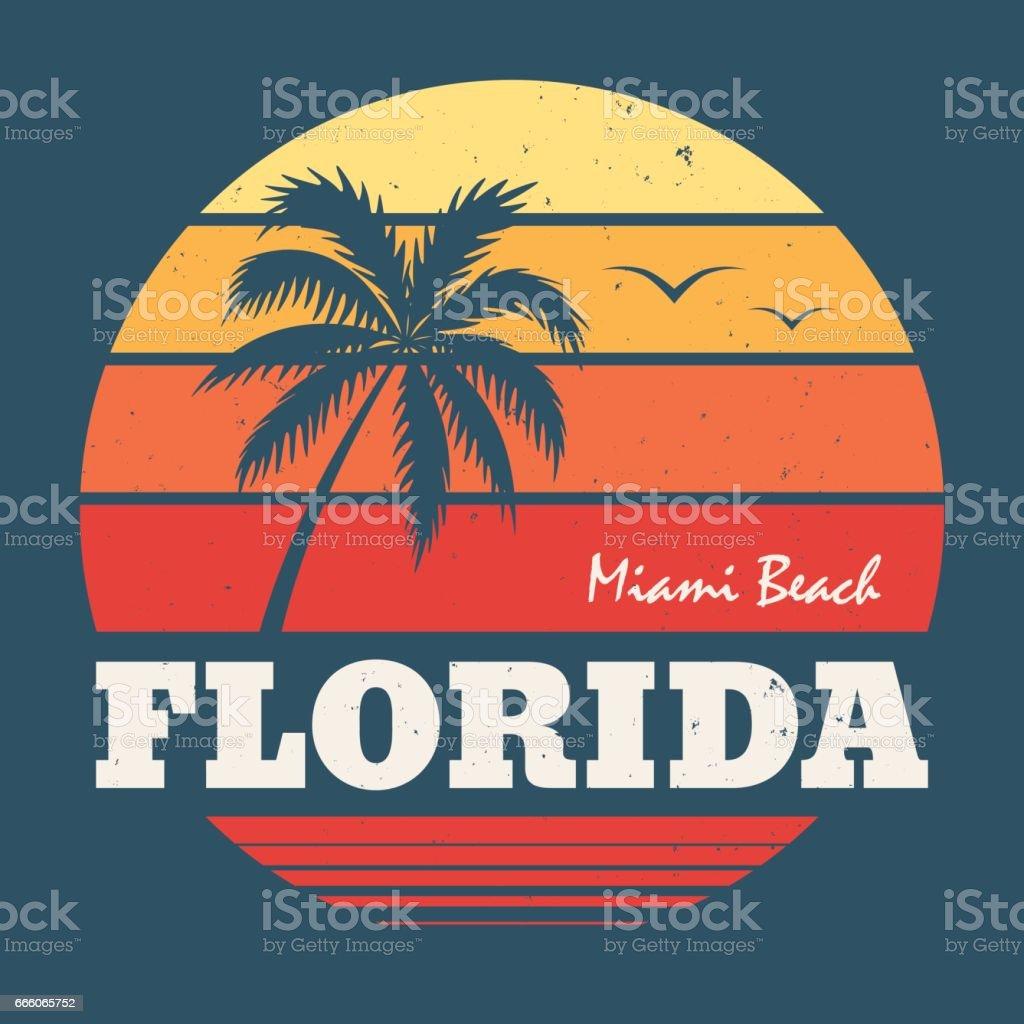 Florida Miami tee print. Vector illustration. vector art illustration