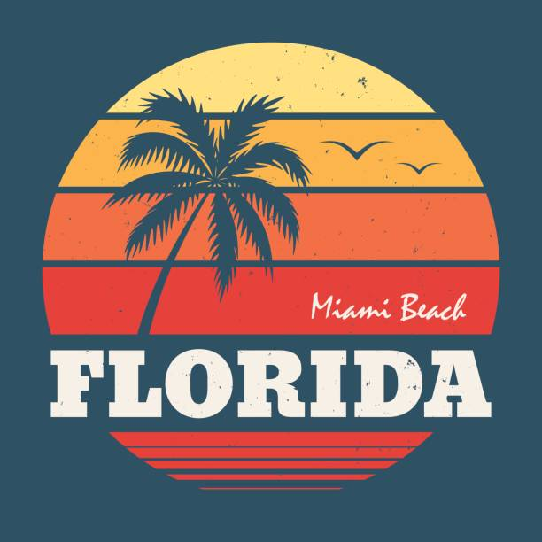 florida miami tee print. vector illustration. - beach fashion stock illustrations, clip art, cartoons, & icons