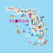 Florida state color map flat vector illustration. American city names handwritten lettering. US tourist attractions, infrastructure, entertainments. People on beach cartoon characters