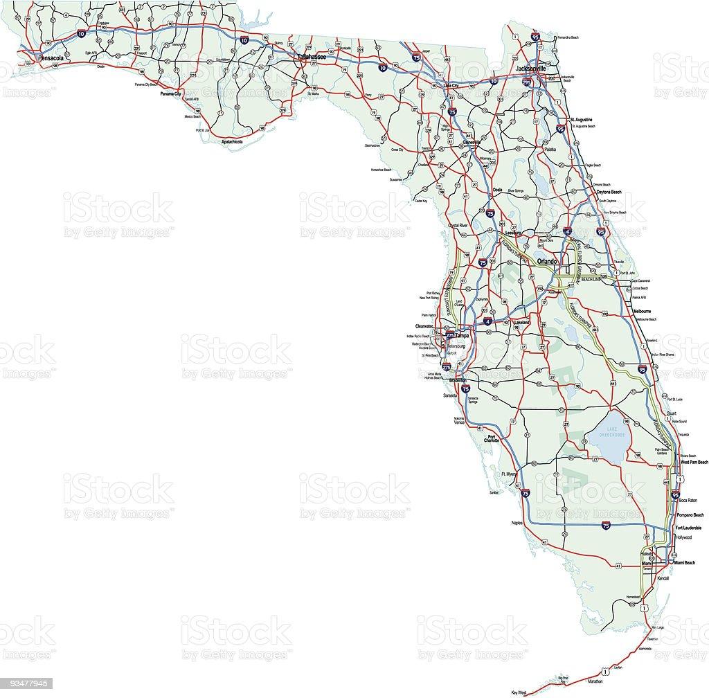 Ilustración De La Interestatal Mapa Del Estado De Florida Y Más Vectores Libres De Derechos De Autopista Istock