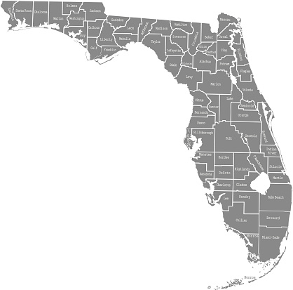 Florida state of USA county map vector outlines illustration with counties names labeled in gray background. Highly detailed county map of Florida state of United States of America