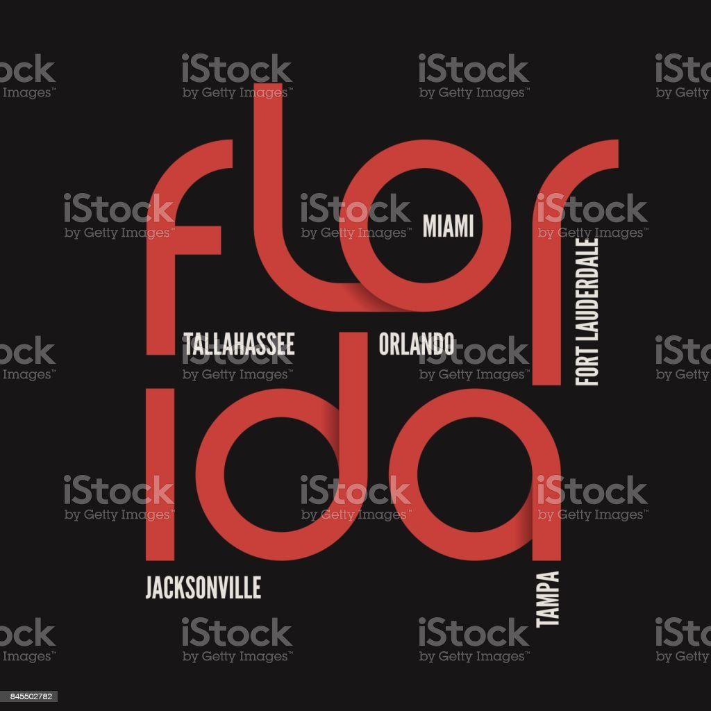 Florida State Tshirt And Apparel Vector Design Print Typography