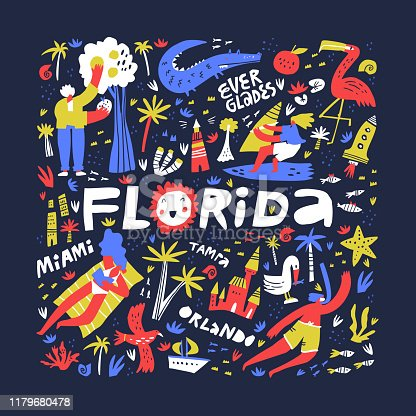 Florida summer rest ideas flat vector illustration. Resort town names freehand lettering. State nature, leisure, sport activities. Resting people cartoon characters. Summer amusement concept