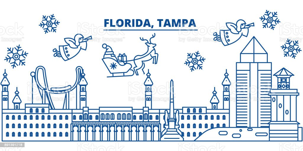 usa florida tampa winter city skyline merry christmas and happy new year decorated